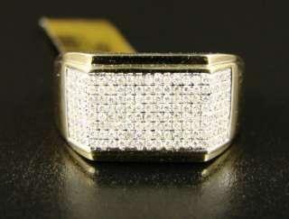 10K MENS YELLOW GOLD PINKY WEDDING BAND DIAMOND RING