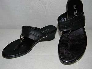 Harley Davidson Black Leather Thong Sandals 7 M
