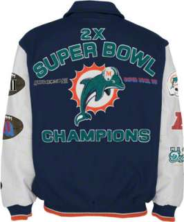 Miami Dolphins Full Zip Commemorative Wool Varsity Jacket