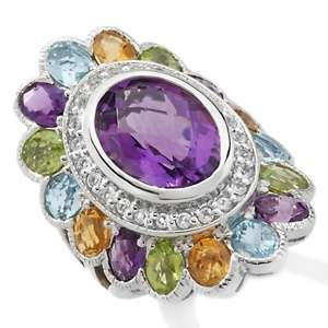 66ct Amethyst and Multigem Sterling Silver Oval Ring