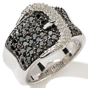 1ct Black and White Diamond Sterling Silver Buckle Ring