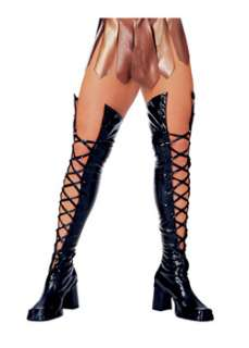 Black Lace Thigh High Boot Tops  Cheap Boots Halloween Costume for
