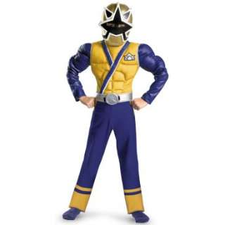 Power Rangers Gold Ranger Samurai Classic Muscle Chest Kids Costume