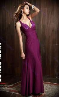 Low Cut V Neck Strappy Backless Jewel Full length Evening Gown Dress