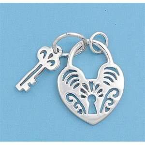 Pendant with Key and Heart Shaped Lock   Sterling Silver