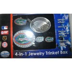 Florida Gators 4 Piece NCAA Jewelry Set with Trinket Box