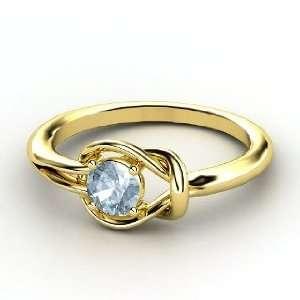 Hercules Knot Ring, Round Aquamarine 14K Yellow Gold Ring Jewelry