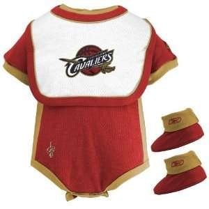 Reebok Cleveland Cavaliers Red Infant Three Piece Creeper Set Baby