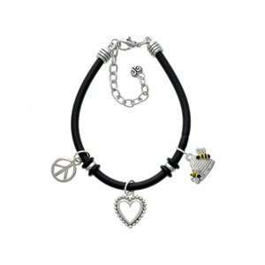 Beehive with 2 Bumble Bees Black Peace Love Charm Bracelet