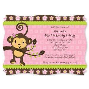 Monkey Girl   Personalized Birthday Party Invitations With