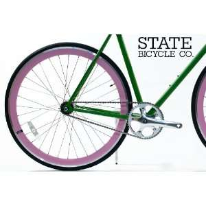 State Bicycle Co.   Pink w/ Silver Fixed Gear DEEP PROFILE Wheel Set
