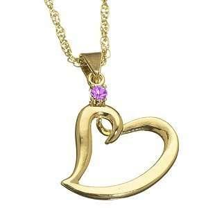 Mothers Birthstone Heart Charm Pendant February Jewelry