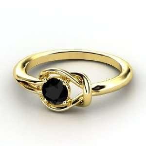 Hercules Knot Ring, Round Black Onyx 18K Yellow Gold Ring Jewelry