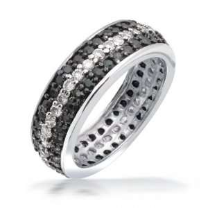Bling Jewelry .925 Sterling Silver Round Cubic Zirconia Black White