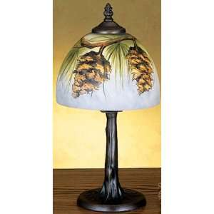 15H Pinecone Reverse Painted Accent Lamp