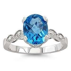 White Gold Oval Blue Topaz 14k Diamond Ring Jewelry
