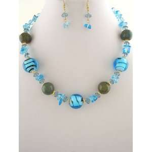 Fashion Jewelry ~ Blue Murano Glass Beads Necklace and Earrings Set