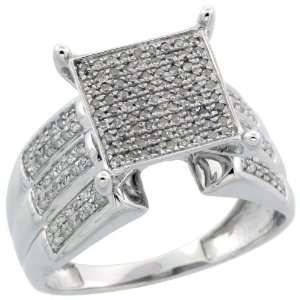10k White Gold Large Square Diamond Ring w/ 0.32 Carat Brilliant Cut