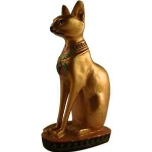 EGYPTIAN BASTET CAT STATUE. EGYPT GODDESS BAST FIGURINE Golden color