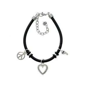 Small Bare Feet Black Peace Love Charm Bracelet Arts
