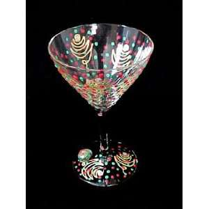 Christmas Trees Design   Hand Painted   Martini Glass   7.5 oz