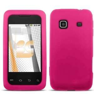Solid Hot Pink Silicone Skin Gel Cover Case For Samsung Galaxy Prevail
