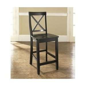 Crosley Furniture X Back Bar Stool in Black Finish with 24