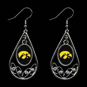 NCAA Iowa Hawkeyes Ladies Tear Drop Crystal Dangle Earrings