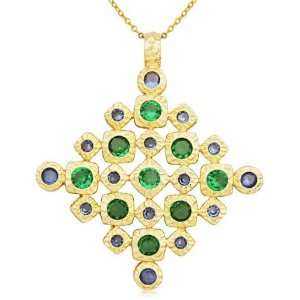 Over Sterling Silver and Green Cubic Zirconia Diamond Pendant Jewelry