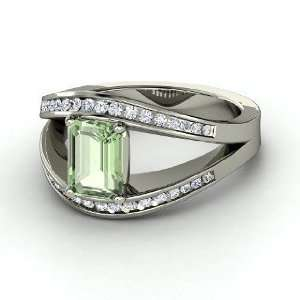 Emerald Cut Green Amethyst Sterling Silver Ring with Diamond Jewelry