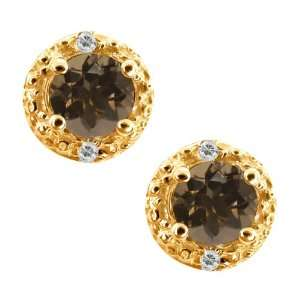 Brown Smoky Quartz and Topaz Gold Plated Silver Earrings Jewelry