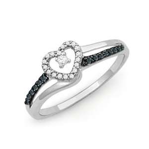 Silver Blue And White Round Diamond Heart Ring (1/6 cttw) Jewelry