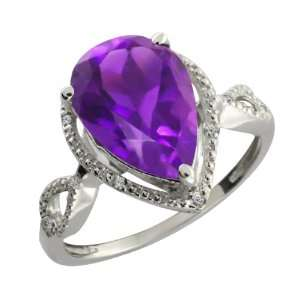 67 Ct Pear Shape Purple Amethyst and White Diamond 10k White Gold Ring