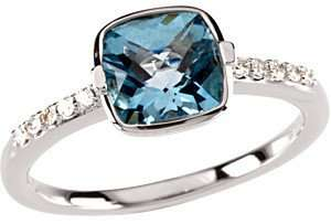 Elegant Bezel Set Cushion Checkerboard Swiss Blue Topaz
