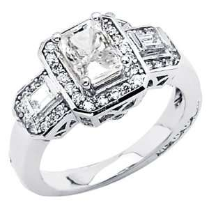 14K White Gold Emerald cut 1.85 CTW Equivalent CZ Cubic Zirconia