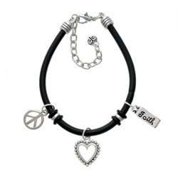 Faith Black Peace Love Charm Bracelet [Jewelry] Jewelry