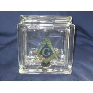 Glass Block Tile Masonic Decal Coin Money Bank
