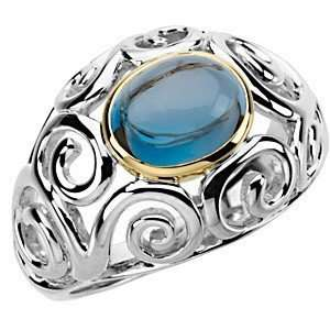 Detailed Cabochon London Blue Topaz 2 Tone Sterling Silver & Gold Ring