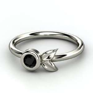 Boutonniere Ring, Round Black Onyx 14K White Gold Ring Jewelry