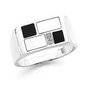 Mens 14k White Gold Mother Pearl Onyx Diamond Ring Jewelry