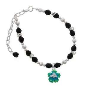 Bee on Green Flower Black Czech Glass Beaded Charm Bracelet [Jewelry