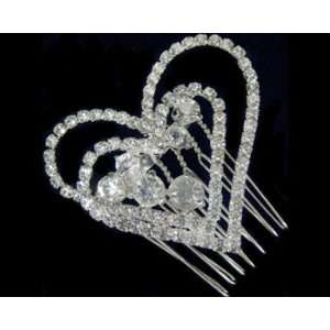 Rhinestone Heart Hair Comb 2332 Beauty