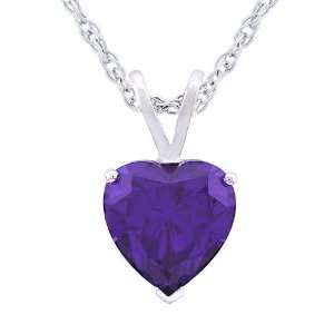 5mm Purple Cubic Zirconia Heart Shaped Pendant, 18 Jewelry
