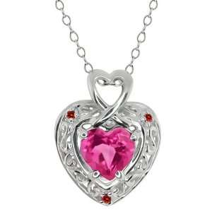 63 Ct Heart Shape Pink Mystic Topaz and Diamond 10k White Gold Pendant