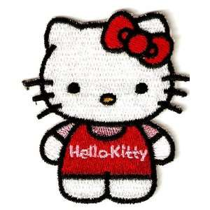 Hello Kitty w red bow & pink shirt in red overalls Embroidered Iron On