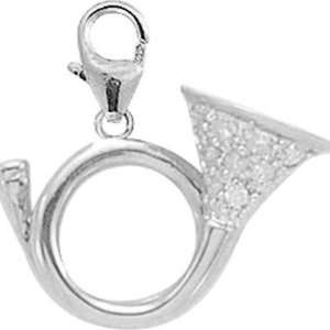 14K White Gold Diamond French Horn Charm Jewelry