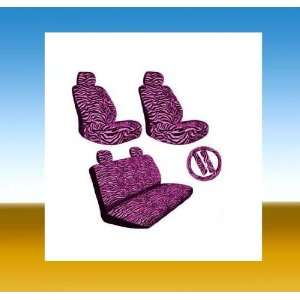 HOT PINK ZEBRA CAR SEAT COVER 11 PCS SET FOR LOWBACK BUCKETS WITH
