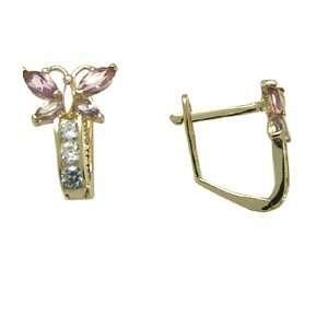 Pink   Birthstone Butterfly 14k Yellow Gold Huggie Earrings Jewelry