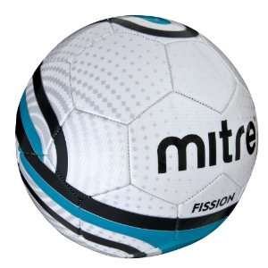 Mitre Fission Size 5 Soccer Ball, White/Blue/Black  Sports