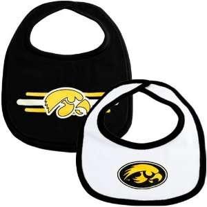 Iowa Hawkeyes Black & White 2 Pack Infant Bib Set  Sports
